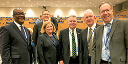 Admiral Brett Giroir, M.D., HHS Asst Secretary for Health, and HRSA Acting Administrator Tom Engels at the United Nations with HRSA staff