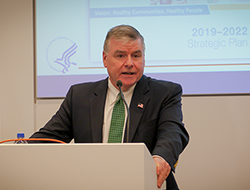 Acting HRSA Administrator Tom Engels discussing HRSA's new strategic plan