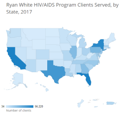 screenshot of one of the reports from the ryan white hiv/aids 2017 state profiles