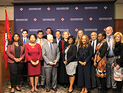 HRSA's Jim Macrae and Dr. Laura Cheever with public health leaders at a community engagement meeting in Little Rock, Arkansas