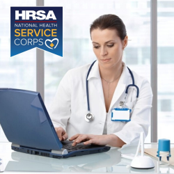 NHSC logo with photo of a health professional