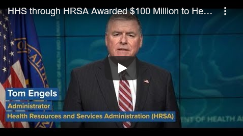 screenshot of the video in which HRSA Administrator Tom Engels discusses the COVID-19 funding