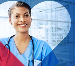 photo of a nurse framed by a heart