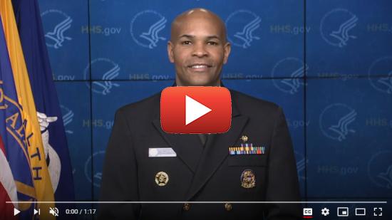 screenshot of a video with U. S. Surgeon General Jerome Adams.