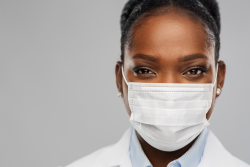 photo of a health care worker with a mask