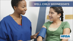 photo of a young girl being examined by a doctor #wellchildwednesdays