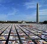 Photo of the HIV/AIDS quilt laid out on the National Mall in the 1980s