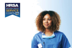 Photo of a health care worker with the HRSA National Health Service Corps logo