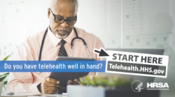 Photo of a physician on a telehealth call - do you have telehealth well in hand? start here: telehealth.hhs.gov
