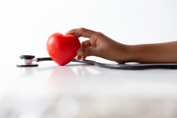 photo of a person's hand holding a toy heart next to a stethoscope