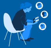 clipart of a person on a telehealth call