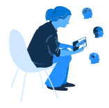 illustration of woman on tablet interacting with health professionals