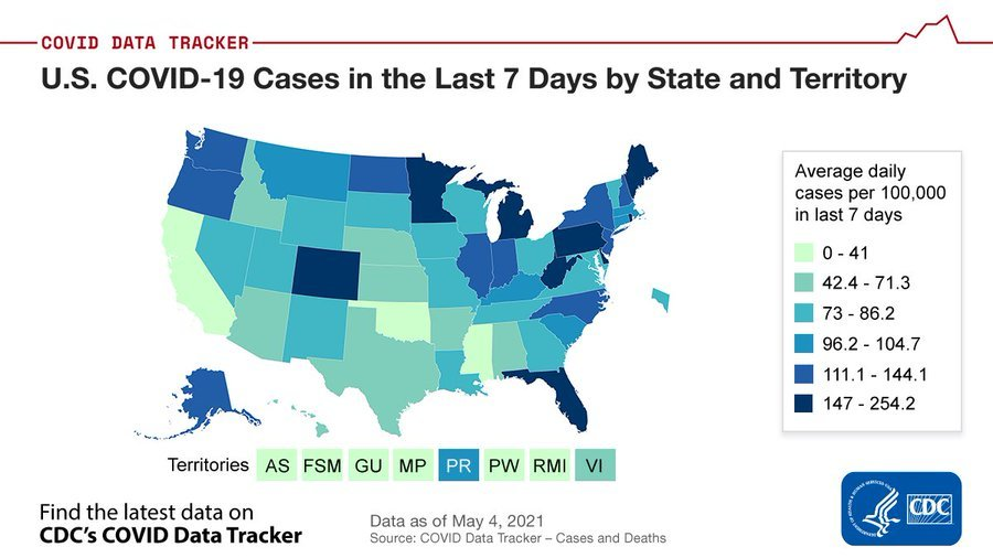 U.S. COVID-19 Cases in the Last 7 Days by State and Territory