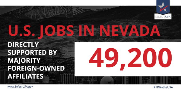 #FDIintheUSA - Nevada: 49,200 #jobs directly supported, largely from Canada, France, the UK, Italy, & Switzerland