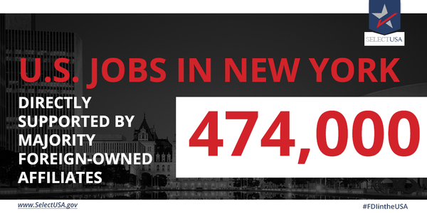 #FDIintheUSA - New York: 474,00 #jobs directly supported, largely from the UK, France, Canada, Germany, & Spain