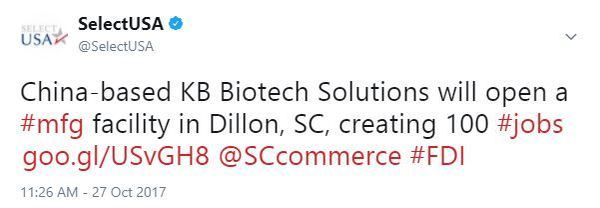 China-based KB Biotech Solutions will open a #mfg facility in Dillon, SC, creating 100 #jobs