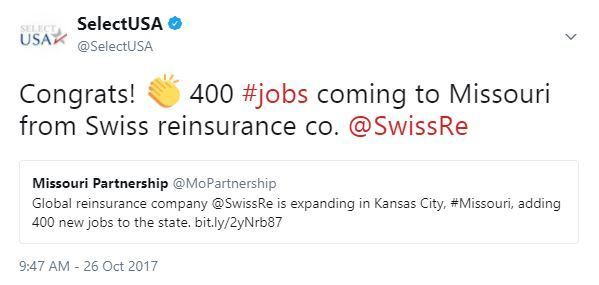 Congrats! 👏 400 #jobs coming to Missouri from Swiss reinsurance co. @SwissRe