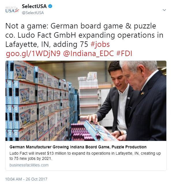 Not a game: German board game & puzzle co. Ludo Fact GmbH expanding operations in Lafayette, IN, adding 75 #jobs