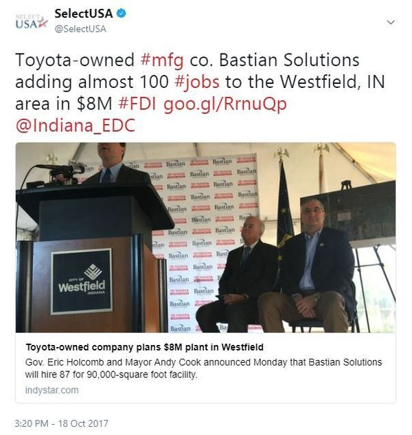 Toyota-owned #mfg co. Bastian Solutions adding almost 100 #jobs to the Westfield, IN area in $8M #FDI