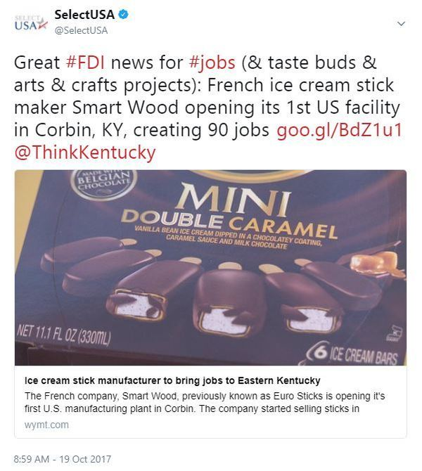 French ice cream stick maker Smart Wood opening its 1st US facility in Corbin, KY, creating 90 jobs