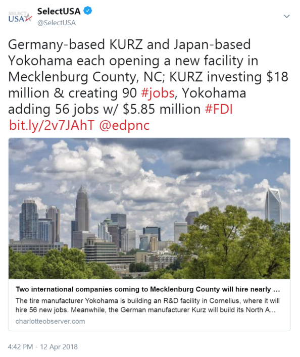 Germany-based KURZ and Japan-based Yokohama each opening a new facility in Mecklenburg County ...