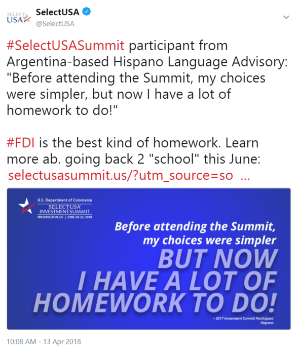 "#SelectUSASummit participant from Argentina-based Hispano Language Advisory: ""Before attending ..."