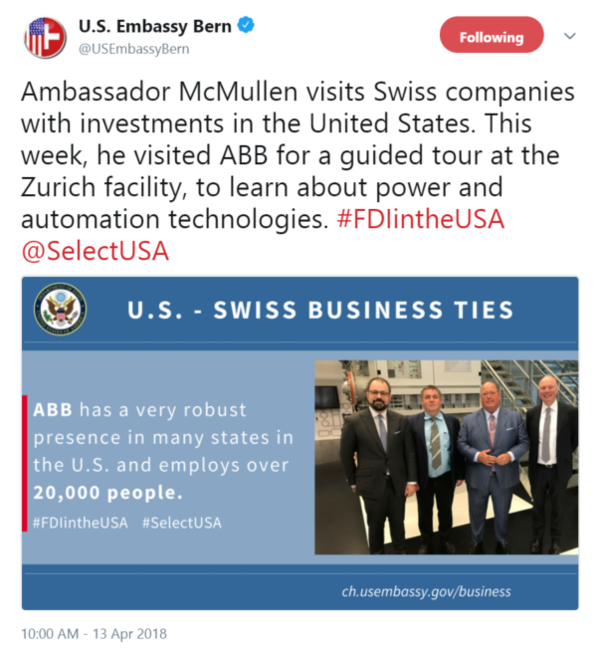 Ambassador McMullen visits Swiss companies with investments in the United States. This week, he ...