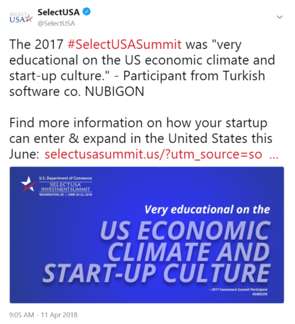 "The 2017 #SelectUSASummit was ""very educational on the US economic climate and start-up culture."" ..."