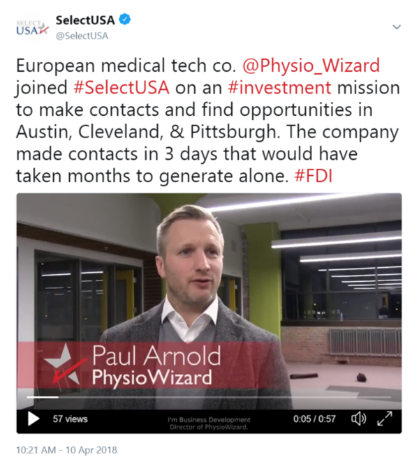 European medical tech co. @Physio_Wizard joined #SelectUSA on an #investment mission to make ...