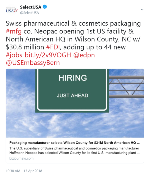 Swiss pharmaceutical & cosmetics packaging #mfg co. Neopac opening 1st US facility & North ...