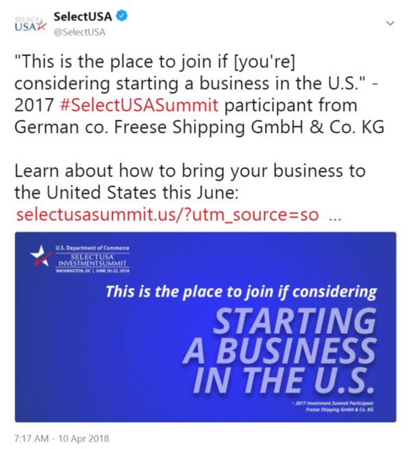 """This is the place to join if [you're] considering starting a business in the U.S."" - 2017 #SelectUSASummit ..."