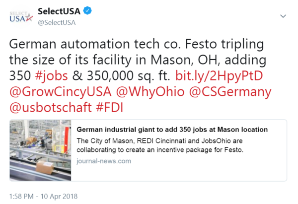 German automation tech co. Festo tripling the size of its facility in Mason, OH, adding 350 #jobs & ...
