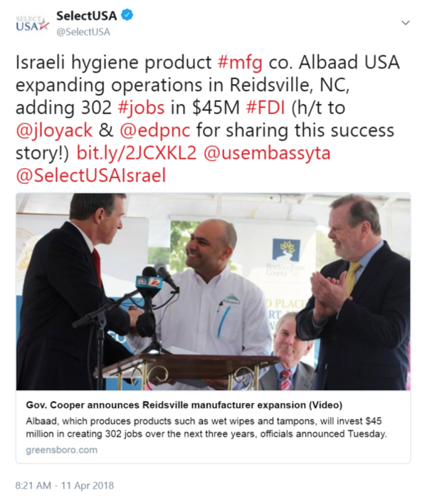Israeli hygiene product #mfg co. Albaad USA expanding operations in Reidsville, NC, adding 302 #jobs ...