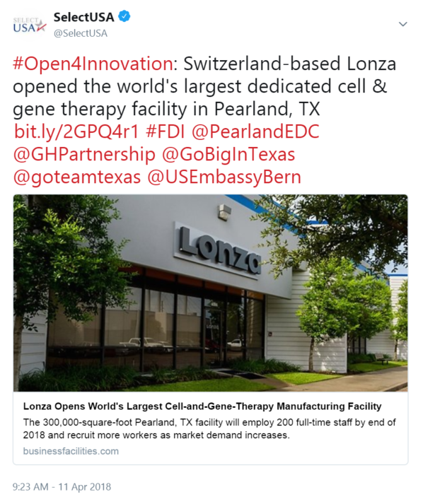 #Open4Innovation: Switzerland-based Lonza opened the world's largest dedicated cell & gene therapy facility in Pearland, TX
