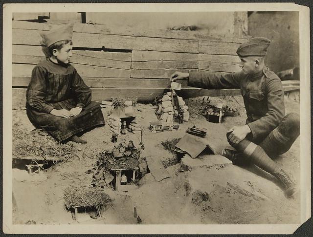 Boys playing war