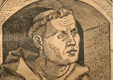 1520 woodcut of Martin Lutehr by Johann Schott