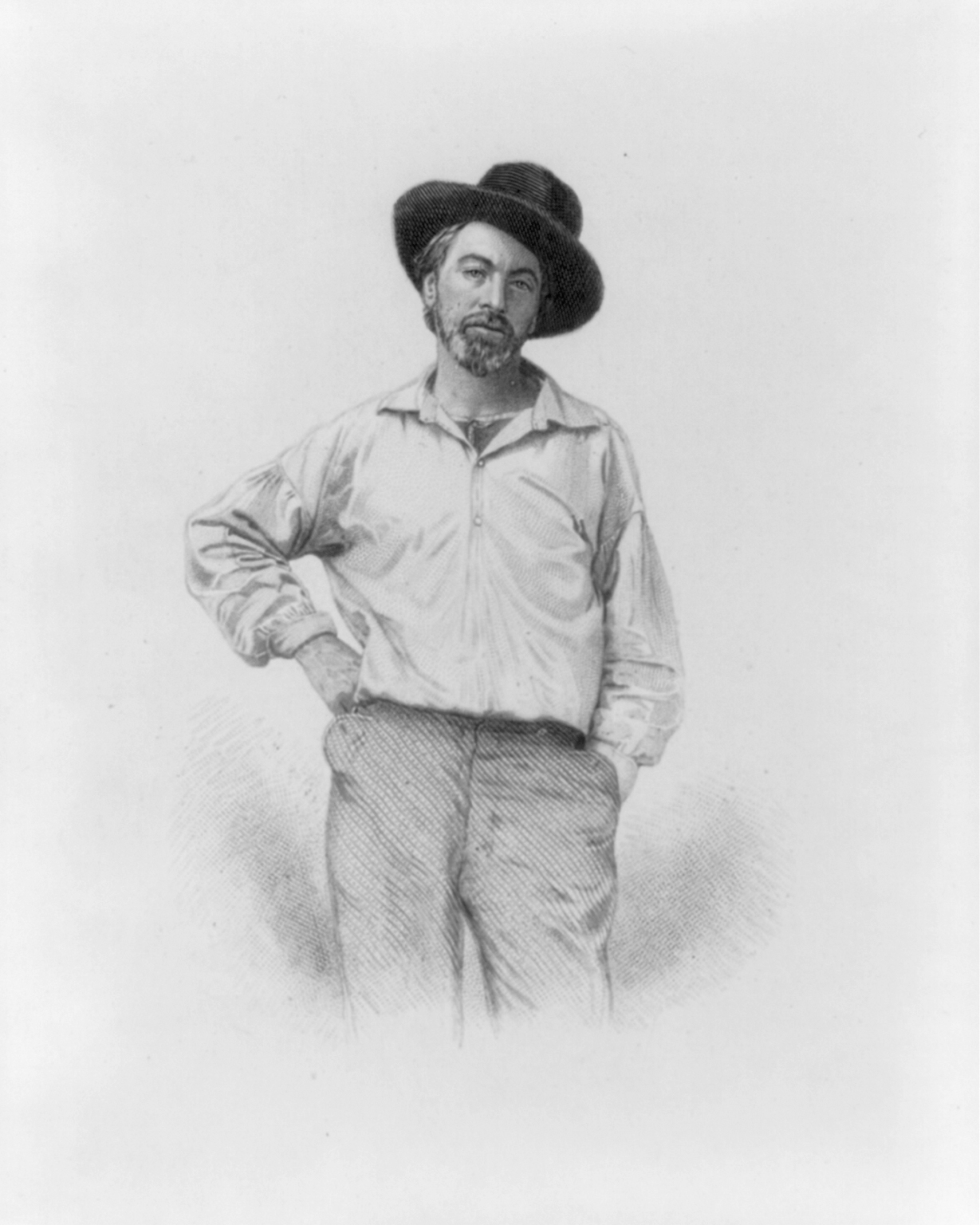 "Walt Whitman in his younger years, as shown in this 1854 engraving by Samuel Hollyer used in the 1855 first edition of ""Leaves of Grass."" Library of Congress Prints and Photographs Division."