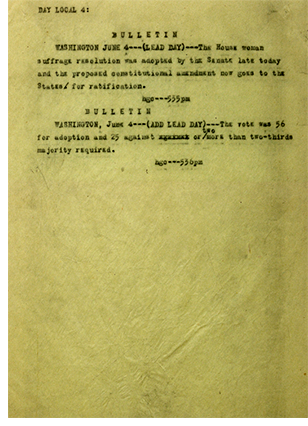 AP Bulletin from 6/14/1919 announcing Senate passage of women's voting rights amendment