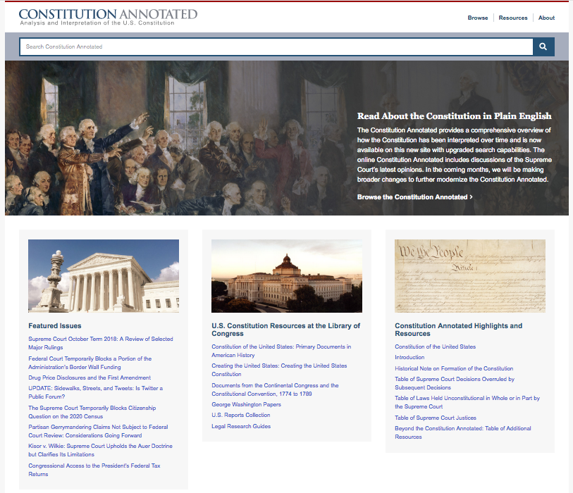 Screen shot: Constitution Annotated website