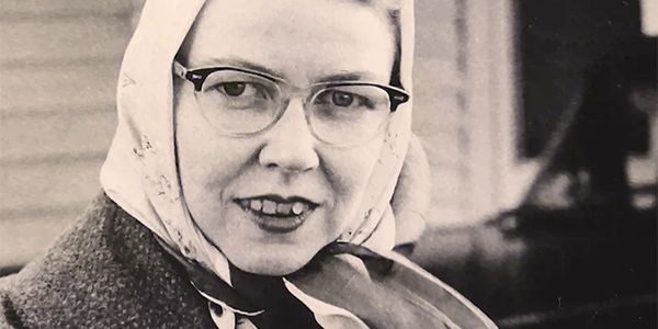 Image of author Flannery O'Connor from the documentary