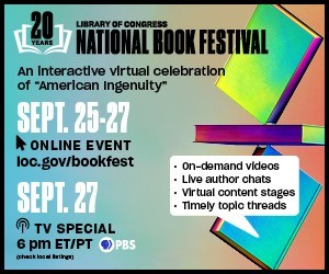 Promotional badge for the 2020 National Book Festival