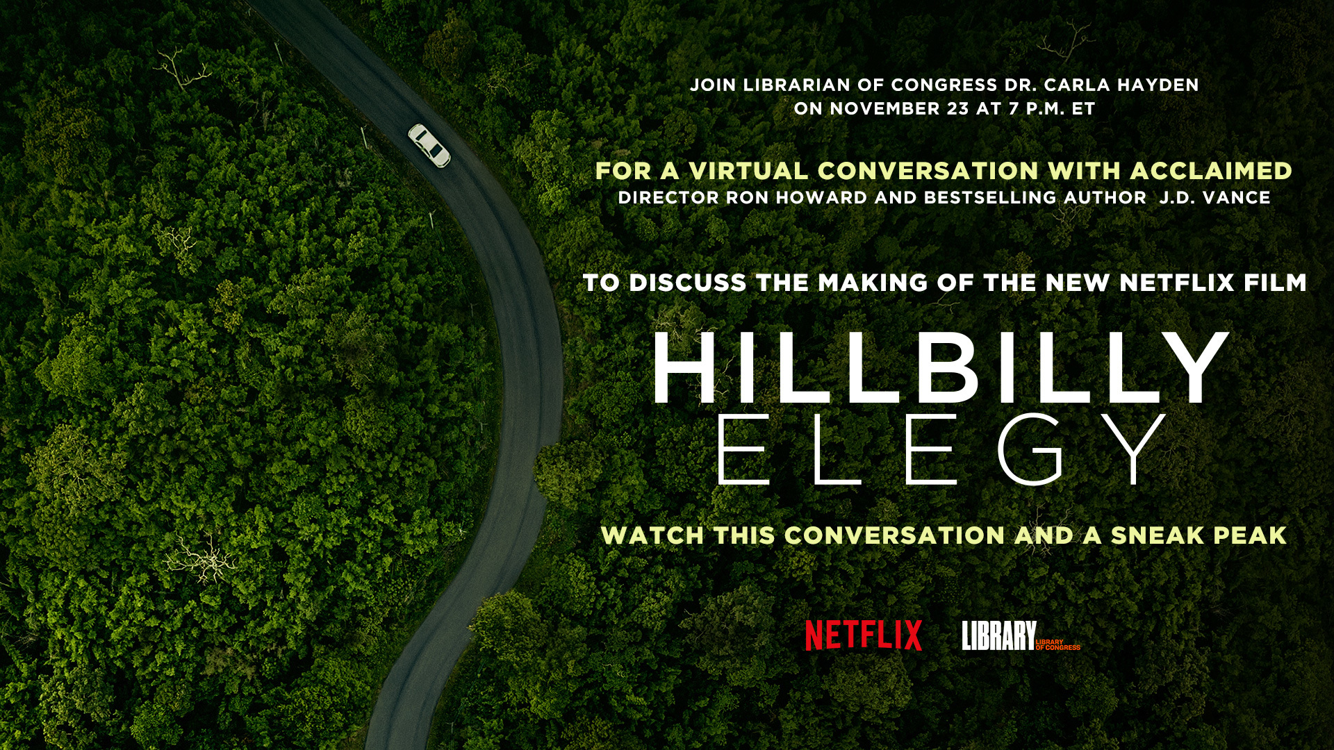 Hillbilly Elegy promotion social graphic