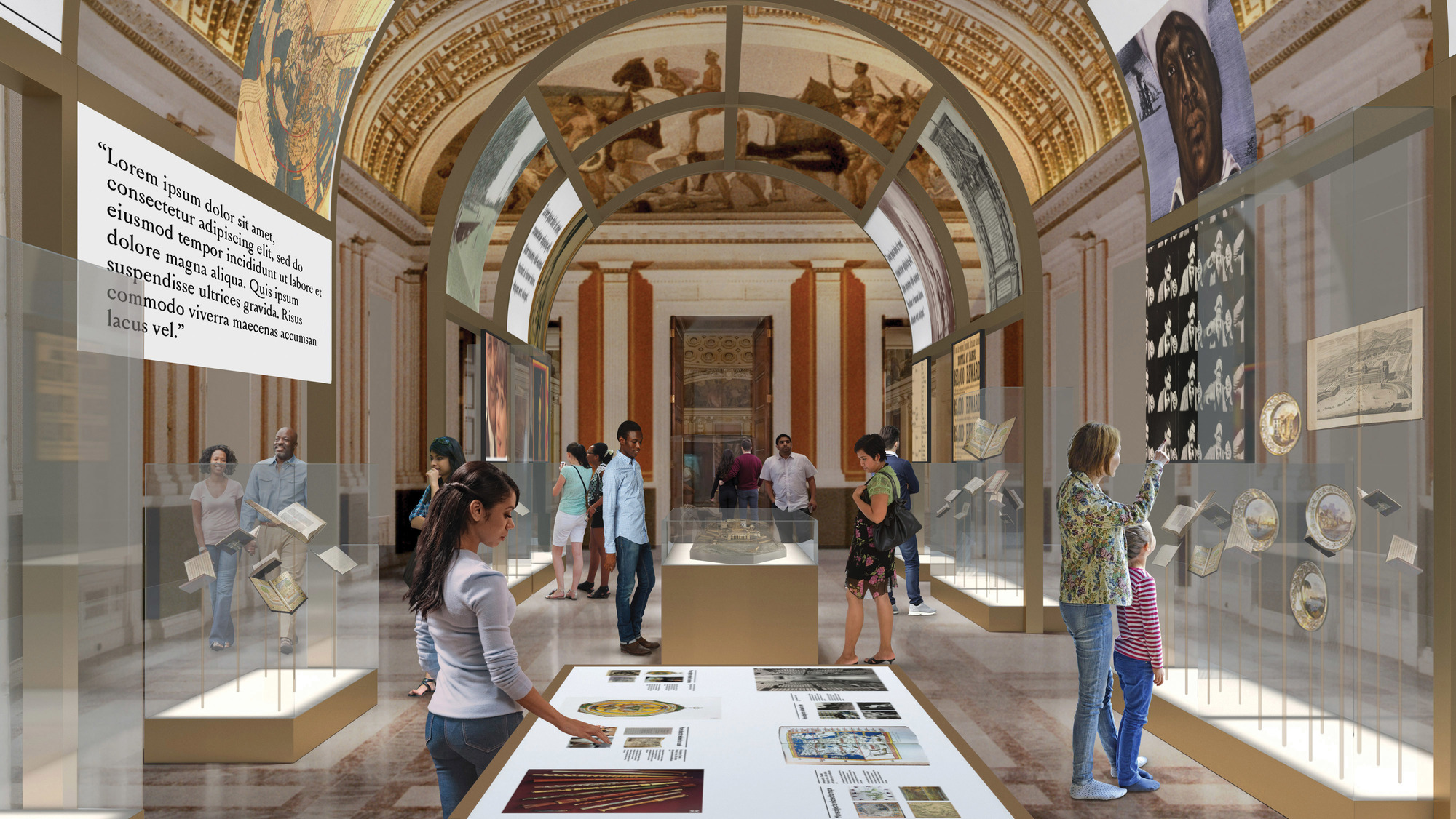 Artist rendering of reimagined visitor experience, entrance to main hall of Library of Congress