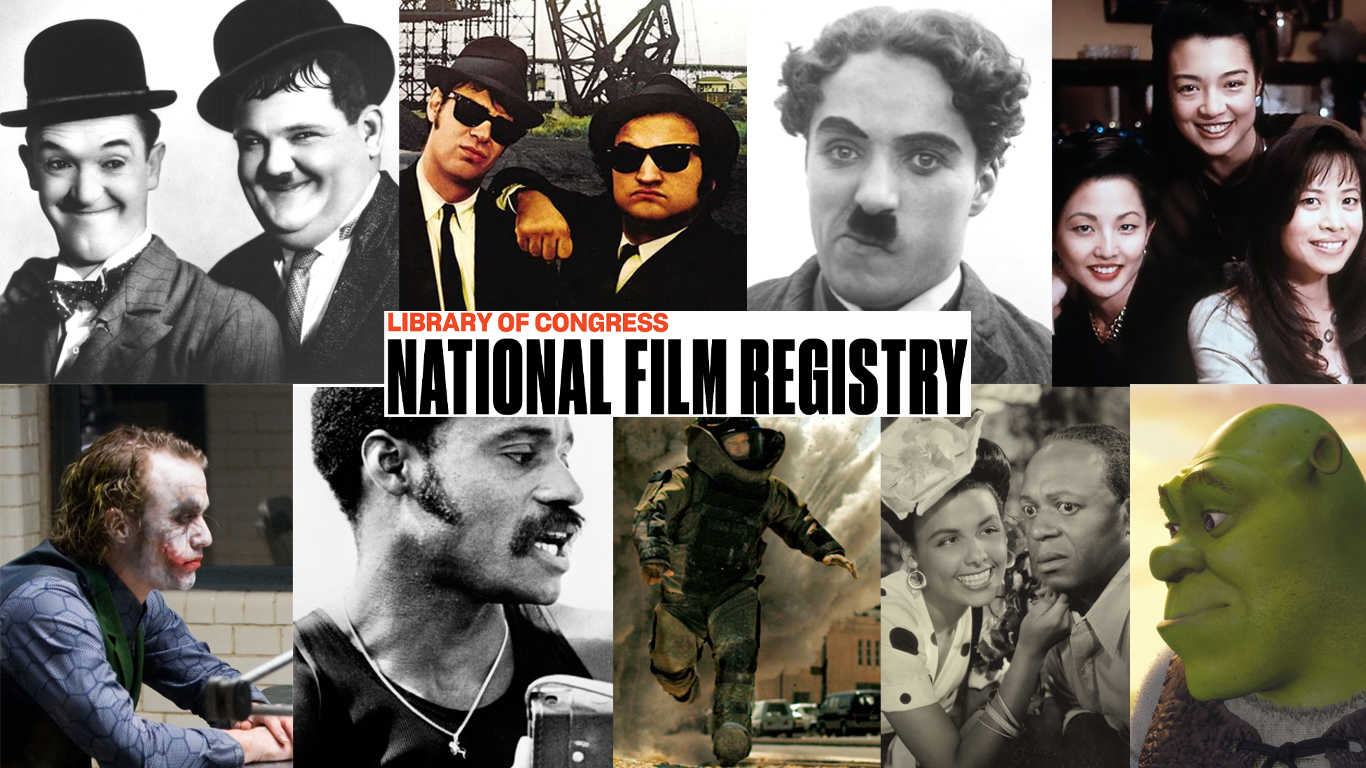 Collage of still images from films added to the National Film Registry