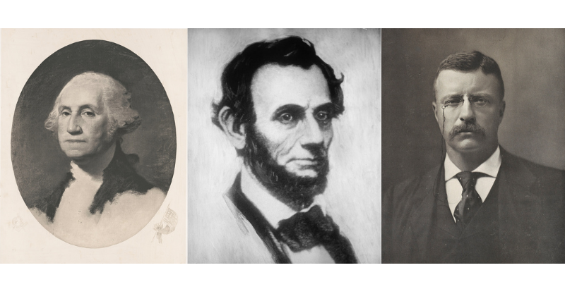 Portraits of George Washington, Abe Lincoln and Teddy Roosevelt