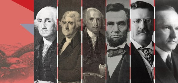 Portraits of Washington, Jefferson, Madison, Lincoln, Roosevelt and Coolidge