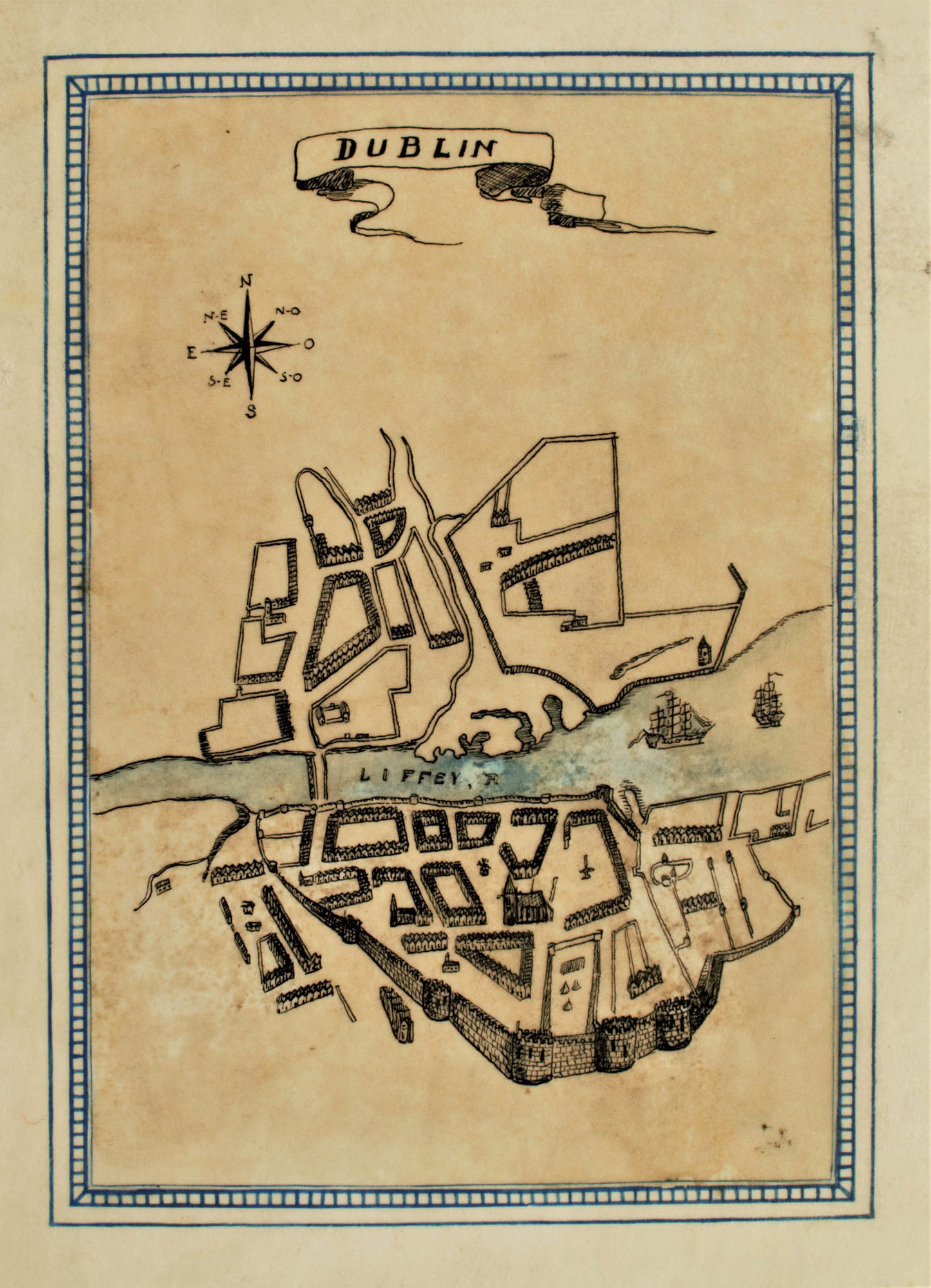 "A map of Dublin drawn in a first edition of James Joyce's ""Ulysses"""