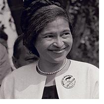 Black and white headshot of Rosa Parks