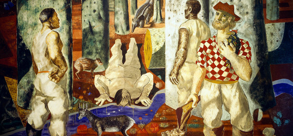 """Detail from the mural, """"Entry into the Forest"""" by Candido Portinari in the Library of Congress Hispanic Division Reading Room"""