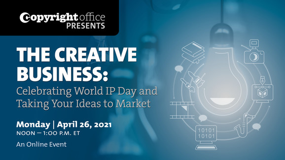 World IP Day graphic of lightbulb surrounded by copyrightable materials